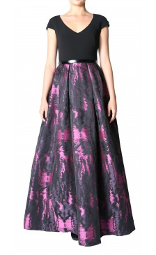 Theia print organza t-shirt gown
