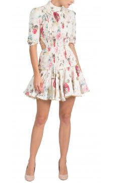 Zimmermann High Neck Pleated Dress