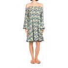 Nicole Miller Off-The Shoulder Pleated Floral Dress