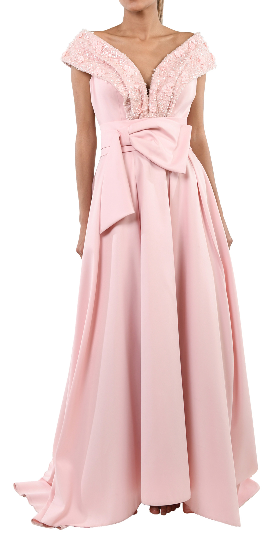 PERFECT Style Off the Shoulder Bow Gown | Designer Dress Rental ...
