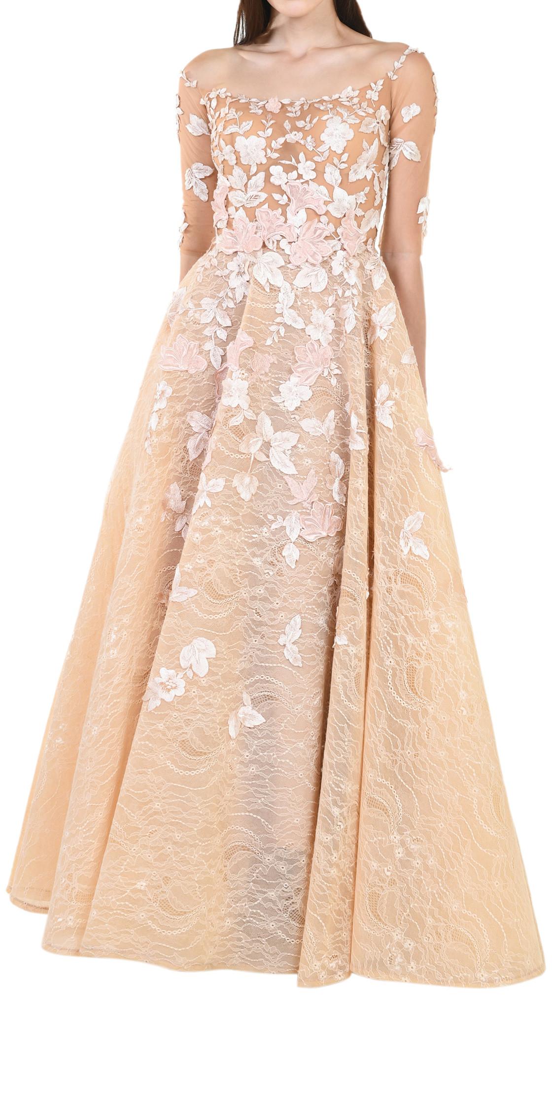 Mirna Jawhari Couture 3D Flower Ball Gown | Evening Dress Rental ...