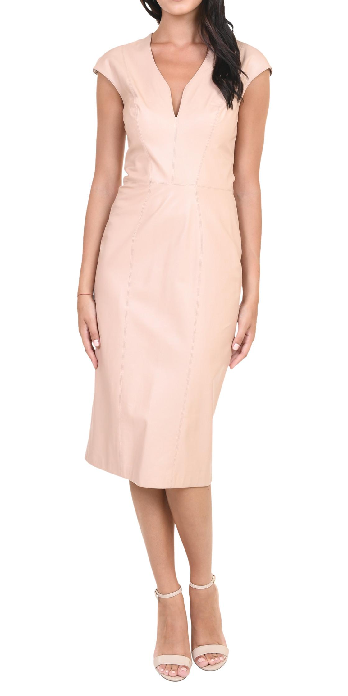 Reem Acra Leather V-Neck Dress   Cocktail Dress Rental   Lebanon ...