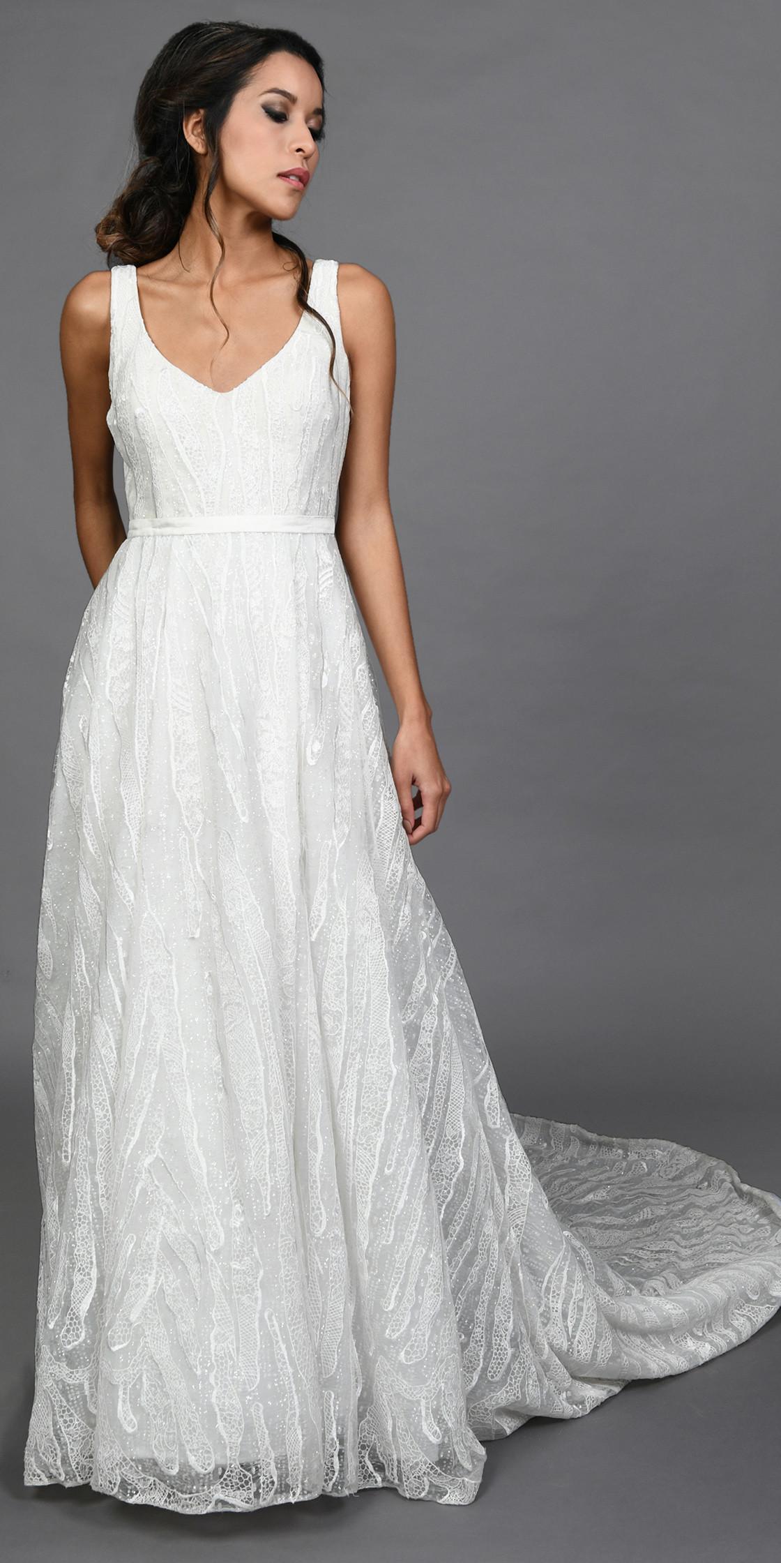 Sandra Mansour Sleeveless A Line Tulle Gown Wedding Dress Rental