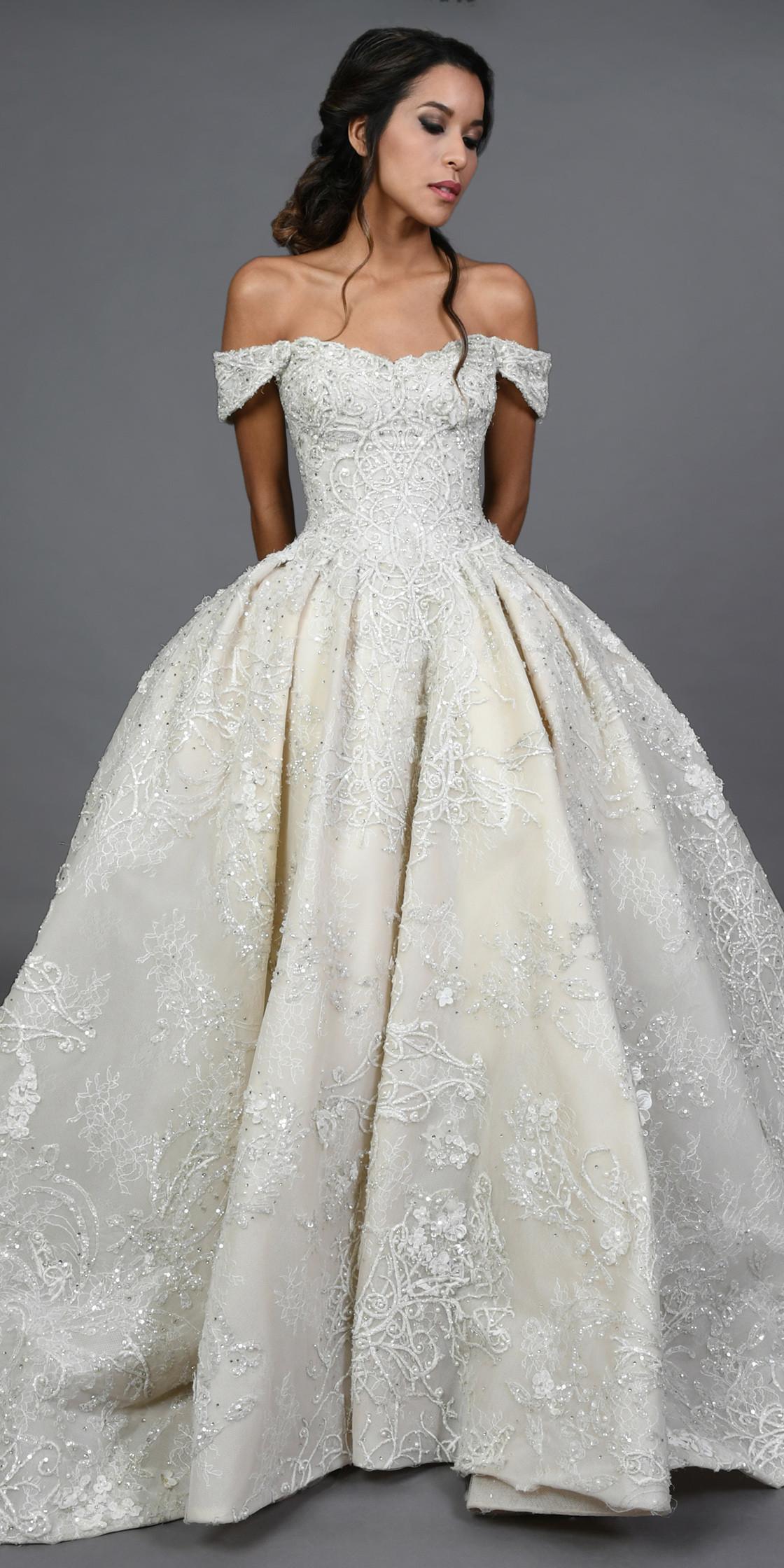 Ziad Nakad Off The Shoulder Princess Cut Gown Wedding Dress