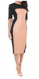 Elisabetta Franchi Leather Panel Dress