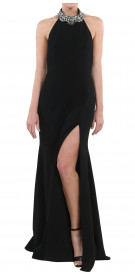 Marchesa Notte Jewelled Halter Neck Gown