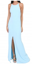 Maria Bianca Nero Backless Slit Gown