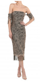 Misha Collection Off the shoulder Lace Midi Dress