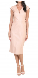Reem Acra  Leather V-Neck Dress