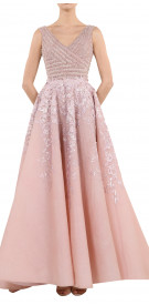 Rony El Areif Pearl Embellished Gown