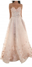 Rony el Areif Strapless Floral Gown
