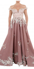 Sara Mrad Off the Shoulder A-line Gown