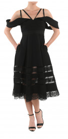 Self-Portrait Drape Shoulder Midi Dress