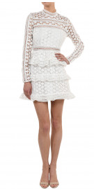 Self-Portrait Long Sleeve Ruffle Dress