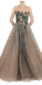 Valentino Embellished Strapless Tulle Gown