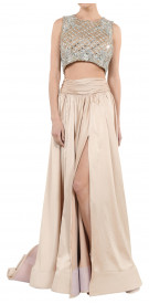 Walid Shehab Crystal Crop Top Silk Satin Skirt